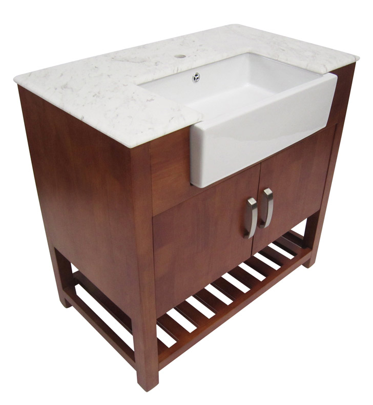 Alfi brand ab36do go 36 inch golden oak single farm sink bath vanity with doors and marble for Bathroom vanities single sink 36 inches