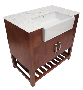 ALFI Brand AB36DO 36 inch Golden Oak Single Farm Sink Bath Vanity with Doors and Marble Countertop