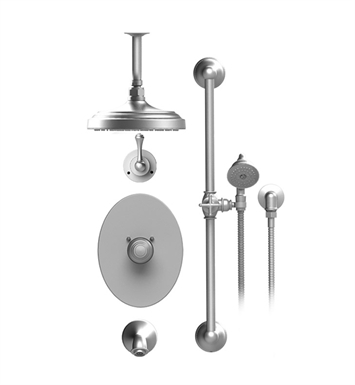 "Rubinet 25FMLSNSN Flemish Temperature Control Tub & Shower with Three Way Diverter & Shut-Off, Handheld Shower, Bar, Integral Supply & Wall Mount Tub Filler Spout and Celling Mount 8"" Shower Head & Arm With Finish: Main Finish: Satin Nickel 