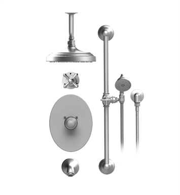 "Rubinet 25FMCCHCH Flemish Temperature Control Tub & Shower with Three Way Diverter & Shut-Off, Handheld Shower, Bar, Integral Supply & Wall Mount Tub Filler Spout and Celling Mount 8"" Shower Head & Arm With Finish: Main Finish: Chrome 