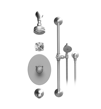 Rubinet 23FMCSNSN Flemish Temperature Control Tub & Shower with Three Way Diverter & Shut-Off, Handheld Shower, Bar, Integral Supply & Wall Mount Tub Filler Spout and Aquatron 3 Function Shower Head & Arm With Finish: Main Finish: Satin Nickel | Accent Finish: Satin Nickel