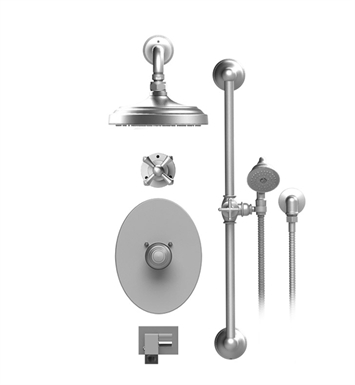 "Rubinet 27FMCSNSN Flemish Temperature Control Tub & Shower with Three Way Diverter & Shut-Off, Handheld Shower, Bar, Integral Supply, Wall Mount Bidet/Foot Rinse and Wall Mount 8"" Shower Head & Arm With Finish: Main Finish: Satin Nickel 