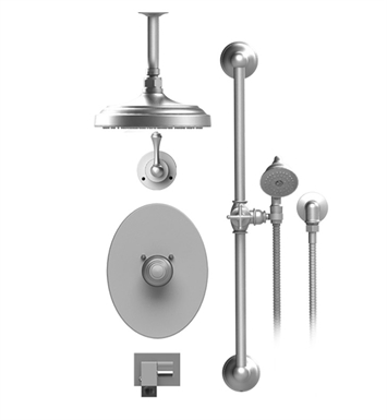 "Rubinet 28FMLCHCH Flemish Temperature Control Tub & Shower with Three Way Diverter & Shut-Off, Handheld Shower, Bar, Integral Supply, Wall Mount Bidet/Foot Rinse and Celling Mount 8"" Shower Head & Arm With Finish: Main Finish: Chrome 