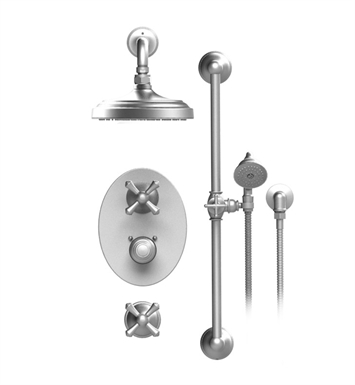"Rubinet 41FMLBBBB Flemish Temperature Control Shower with Wall Mount 8"" Shower Head, Bar, Integral Supply & Hand Held Shower With Finish: Main Finish: Bright Brass 