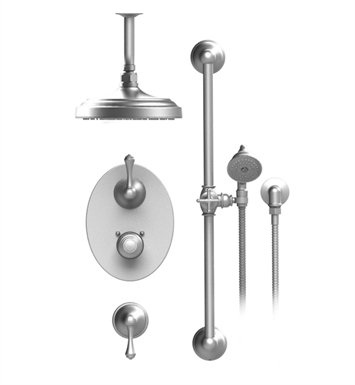 "Rubinet 42FMLSNGD Flemish Temperature Control Shower with Celling Mount 8"" Shower Head, Bar, Integral Supply & Hand Held Shower With Finish: Main Finish: Satin Nickel 