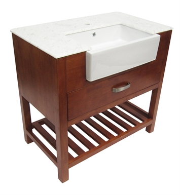 ALFI Brand AB36DR 36 inch Golden Oak Single Farm Sink Bath Vanity with a Drawer and Marble Countertop