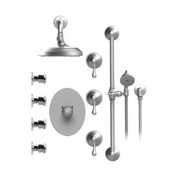 "Rubinet 46FMLSNCH Flemish Temperature Control Shower with Wall Mount 8"" Shower Head, Bar, Integral Supply, Hand Held Shower & Four Body Sprays With Finish: Main Finish: Satin Nickel 