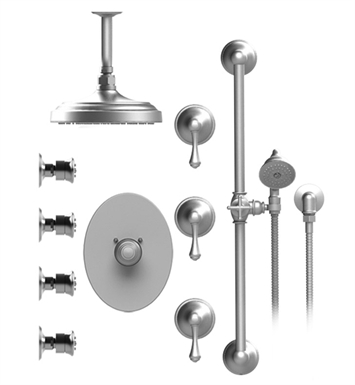 "Rubinet 47FMLCHCH Flemish Temperature Control Shower with Celling Mount 8"" Shower Head, Bar, Integral Supply, Hand Held Shower & Four Body Sprays With Finish: Main Finish: Chrome 
