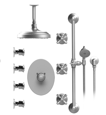 "Rubinet 47FMC Flemish Temperature Control Shower with Celling Mount 8"" Shower Head, Bar, Integral Supply, Hand Held Shower & Four Body Sprays"