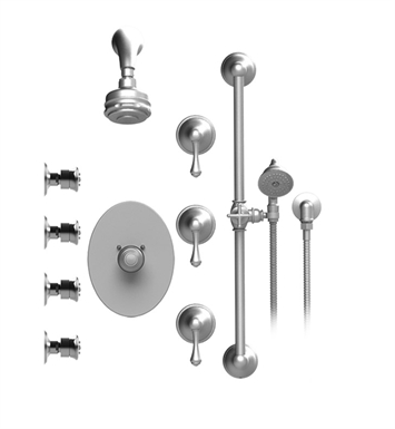 Rubinet 45FMCSNSN Flemish Temperature Control Shower with Aquatron 3 Function Shower Head, Bar, Integral Supply, Hand Held Shower & Four Body Sprays With Finish: Main Finish: Satin Nickel | Accent Finish: Satin Nickel