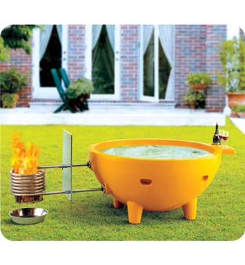 ALFI Brand FireHotTub-OR Round Fire Burning Portable Outdoor Orange Fiberglass Soaking Hot Tub