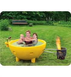ALFI Brand FireHotTub Round Fire Burning Portable Outdoor Yellow Fiberglass Soaking Hot Tub