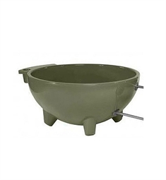 ALFI Brand FireHotTub Round Fire Burning Portable Outdoor Olive Green Fiberglass Soaking Hot Tub
