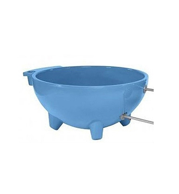 ALFI Brand FireHotTub-LB Round Fire Burning Portable Outdoor Light Blue Fiberglass Soaking Hot Tub