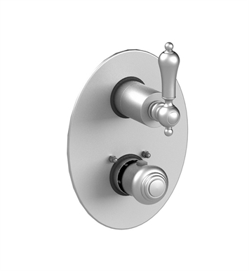 Rubinet 2QRMLSNSN Romanesque Temperature Control Valve with Built-In Stops & Two Way Diverter with Shut off With Finish: Main Finish: Satin Nickel | Accent Finish: Satin Nickel