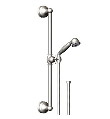Rubinet 4GRM0BBWH Romanesque Adjustable Slide Bar & Hand Held Shower Assembly With Finish: Main Finish: Bright Brass | Accent Finish: White
