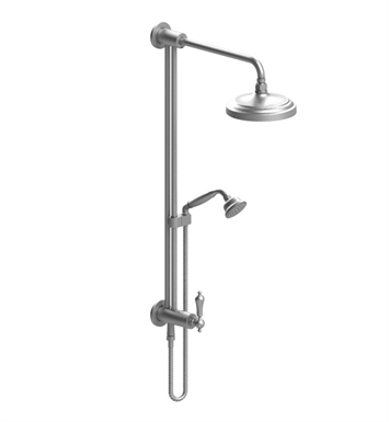 Rubinet 4URM2CHCH Romanesque Bar with Inlet at Shower Head, Shower Arm, Adjustable Slide Bar and Hand Held Shower with Diverter With Finish: Main Finish: Chrome | Accent Finish: Chrome