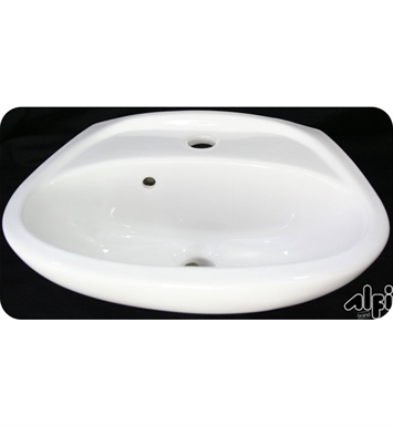 ALFI Brand AB106 White Small Porcelain Wall Mount Basin with Overflow