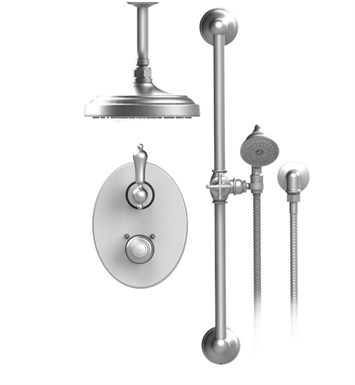 "Rubinet 22RMLSNSN Romanesque Temperature Control Shower with Two Way Diverter & Shut-Off, Handheld Shower, Bar, Integral Supply & Ceiling Mount 8"" Shower Head & Arm With Finish: Main Finish: Satin Nickel 