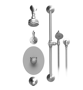 Rubinet 23RMLSNSN Romanesque Temperature Control Tub & Shower with Three Way Diverter & Shut-Off, Handheld Shower, Bar, Integral Supply & Wall Mount Tub Filler Spout and Aquatron 3 Function Shower Head & Arm With Finish: Main Finish: Satin Nickel | Accent Finish: Satin Nickel