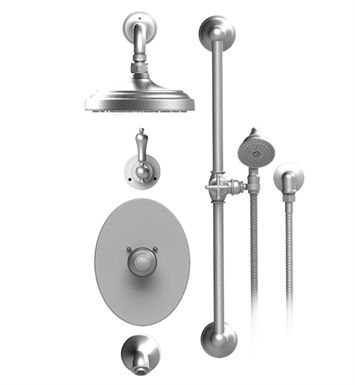 "Rubinet 24RMLGDGD Romanesque Temperature Control Tub & Shower with Three Way Diverter & Shut-Off, Handheld Shower, Bar, Integral Supply & Wall Mount Tub Filler Spout and Wall Mount 8"" Shower Head & Arm With Finish: Main Finish: Gold 