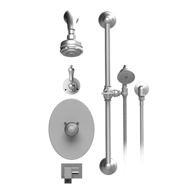 Rubinet 26RMLGDGD Romanesque Temperature Control Tub & Shower with Three Way Diverter & Shut-Off, Handheld Shower, Bar, Integral Supply, Wall Mount Bidet/Foot Rinse and Aquatron 3 Function Shower Head & Arm With Finish: Main Finish: Gold | Accent Finish: Gold