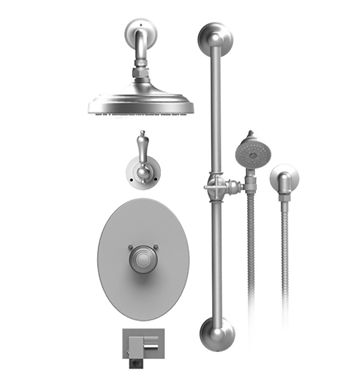 "Rubinet 27RMLGDGD Romanesque Temperature Control Tub & Shower with Three Way Diverter & Shut-Off, Handheld Shower, Bar, Integral Supply, Wall Mount Bidet/Foot Rinse and Wall Mount 8"" Shower Head & Arm With Finish: Main Finish: Gold 