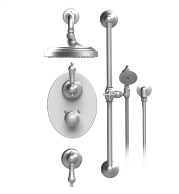 "Rubinet 41RMLSNCH Romanesque Temperature Control Shower with Wall Mount 8"" Shower Head, Bar, Integral Supply & Hand Held Shower With Finish: Main Finish: Satin Nickel 