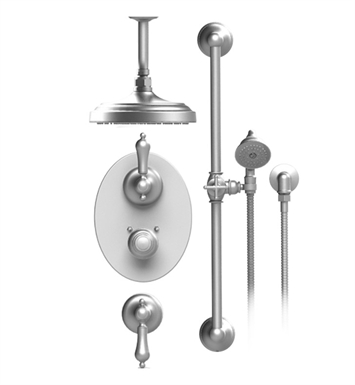 "Rubinet 42RMLCHGD Romanesque Temperature Control Shower with Celling Mount 8"" Shower Head, Bar, Integral Supply & Hand Held Shower With Finish: Main Finish: Chrome 