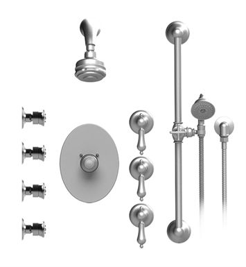 Rubinet 45RMLSNSN Romanesque Temperature Control Shower with Aquatron 3 Function Shower Head, Bar, Integral Supply, Hand Held Shower & Four Body Sprays With Finish: Main Finish: Satin Nickel | Accent Finish: Satin Nickel