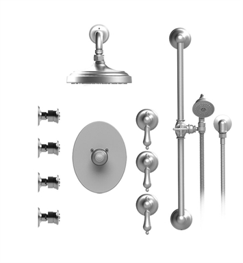 "Rubinet 46RMLBBWH Romanesque Temperature Control Shower with Wall Mount 8"" Shower Head, Bar, Integral Supply, Hand Held Shower & Four Body Sprays With Finish: Main Finish: Bright Brass 