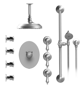 "Rubinet 47RMLSNSN Romanesque Temperature Control Shower with Celling Mount 8"" Shower Head, Bar, Integral Supply, Hand Held Shower & Four Body Sprays With Finish: Main Finish: Satin Nickel 