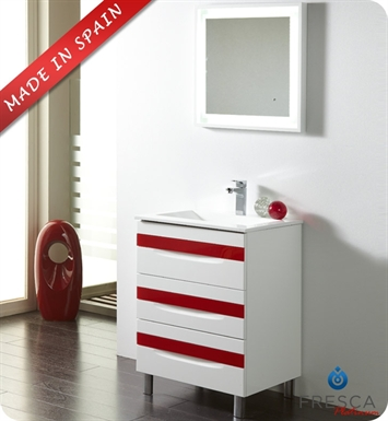 "Fresca Platinum Giocco 24"" Glossy White/Red Modern Bathroom Vanity with Customizable Handles"