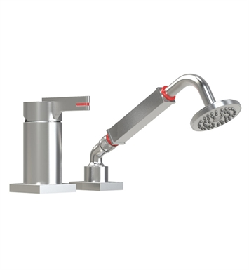 Rubinet 5RRTLSNRD R10 Pressure Balance Deck Mount Mixing Valve with Hand Held Shower & Built-In Vacuum Breaker With Finish: Main Finish: Satin Nickel | Accent Finish: Red