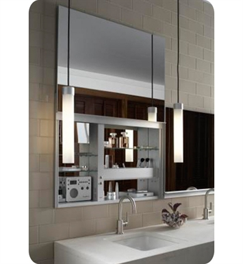"Robern UC3627FPE Uplift 36"" Customizable Medicine Cabinet with LED Interior Lighting, Electrical Outlets and Interior Mirror With Cabinet Light: Electrical Outlet"