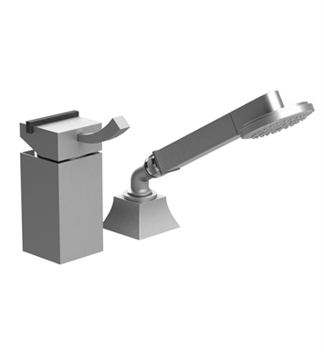 Rubinet 5RMQ1PNMW Matthew Quinn Pressure Balance Deck Mount Mixing Valve with Hand Held Shower & Built-In Vacuum Breaker With Finish: Main Finish: Polished Nickel | Accent Finish: Matt White