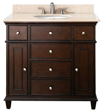"Avanity WINDSOR-VS36-WA Windsor 36"" Walnut Antique Bathroom Vanity with Countertop and Sink"