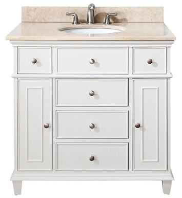 "Avanity WINDSOR-VS36-WT Windsor 36"" White Antique Bathroom Vanity with Countertop and Sink"