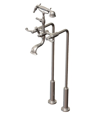 Rubinet 3FETLCHGD Etruscan Floor Mount Tub Filler with Hand Held Shower With Finish: Main Finish: Chrome | Accent Finish: Gold