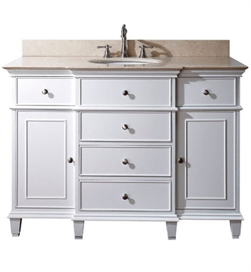 "Avanity WINDSOR-VS48-WT Windsor 48"" White Antique Bathroom Vanity with Countertop and Sink"