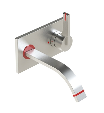 Rubinet 1JRTLSCRD R10 Wall Mount Single Control Lavatory Set with Push-Up Drain Assembly & Stops With Finish: Main Finish: Satin Chrome | Accent Finish: Red