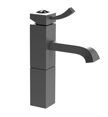 Rubinet 1NICLMBMBJT Ice Single Control Lavatory with Pop-Up Assembly With Finish: Main Finish: Matt Black | Accent Finish: Matt Black And Crystal Accent: Black Crystal Accent