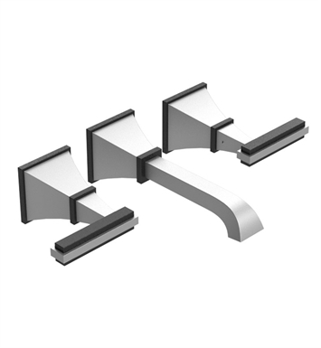 Rubinet 1GMQLSNPN Matthew Quinn Wall Mount Lavatory Set with Push-Up Drain Assembly With Finish: Main Finish: Satin Nickel | Accent Finish: Polished Nickel