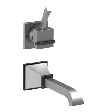 Rubinet 1JMQ1CHOB Matthew Quinn Wall Mount Single Control Lavatory Set with Push-Up Drain Assembly With Finish: Main Finish: Chrome | Accent Finish: Oil Rubbed Bronze
