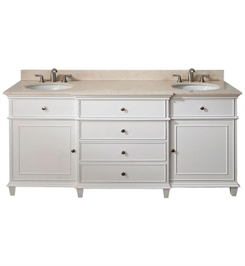 "Avanity WINDSOR-VS72-WT Windsor 72"" White Antique Double Sink Bathroom Vanity with Countertop and Sinks"