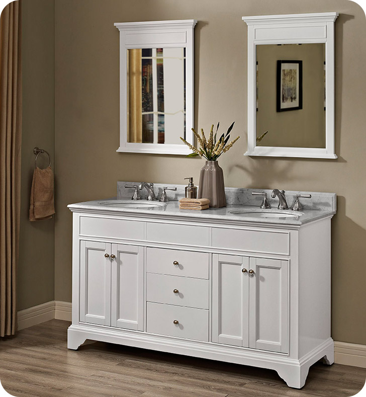 Fairmont Designs 1502 V6021d Framingham 60 Inch Double Bowl Vanity In Polar White