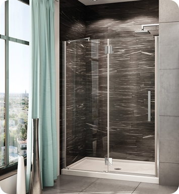 "Fleurco PXLP47-11-40R-M-B Platinum In Line Door and Panel with Glass to Glass Hinges and Pivot Support Bar With Dimensions: Width: 47 3/8"" to 48 5/8"" Approx. Entry: 25"" And Hardware Finish: Bright Chrome And Glass Type: Clear Glass And Door Direction: Right And Shower Door Handles: Curved And Shower Door Hinges: Rectangular"