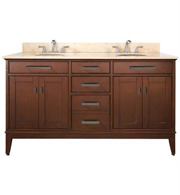 "Avanity MADISON-V60-TO Madison 60"" Tobacco Double Sink Antique Bathroom Vanity"