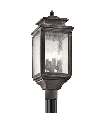 Kichler 49506WZC Wiscombe Park Collection Outdoor Post Mount 4 Light in Weathered Zinc