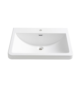 "Fresca FVS8525WH Milano 26"" White Integrated Sink with Countertop"